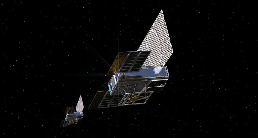 illustration of two CubeSats