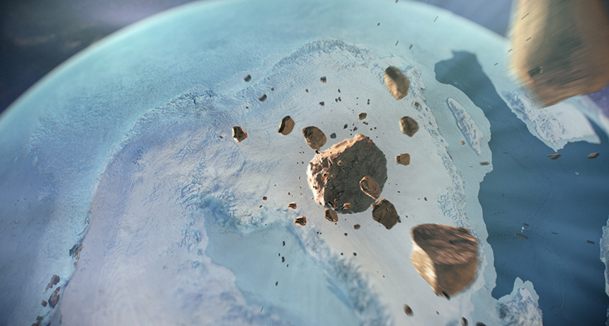 illustration of asteroid heading for Earth