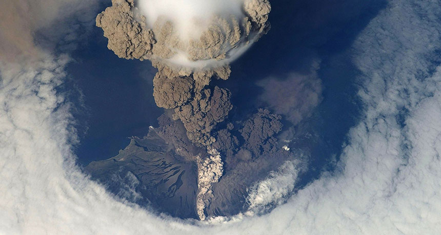 an aerial image of a volcanic ash cloud from Sarychev Peak in Russia