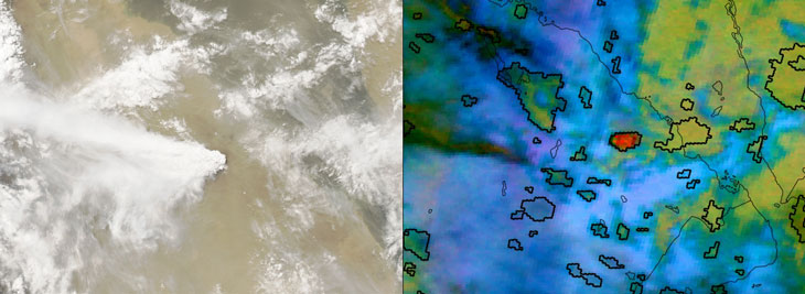 a sattelite image of the June 2011 eruption of the Nabro volcano in Eritrea and a computer analysis of surrounding clouds 15 minutes after eruption