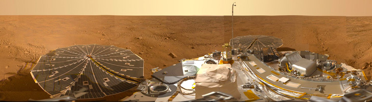 a photo of the surface of Mars taken by NASA's Phoenix Mars lander from its landing site