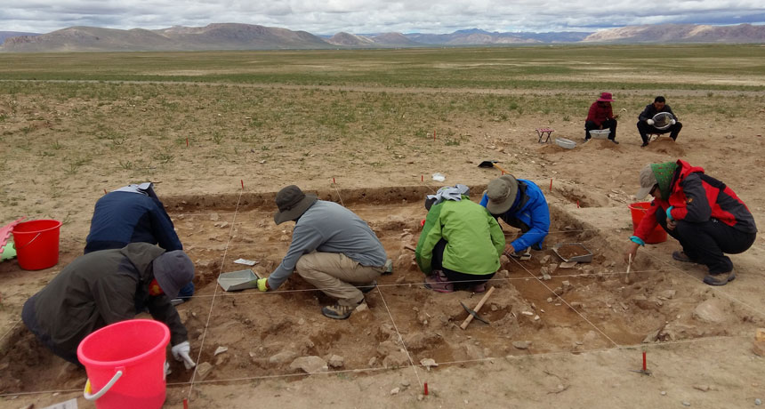 Tibetan Plateau site excavation