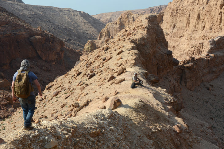 hiker on rocky terrain in Jordan