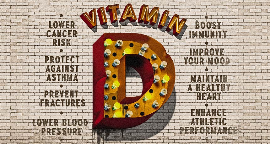 illustration of Vitamin D with list of benefits