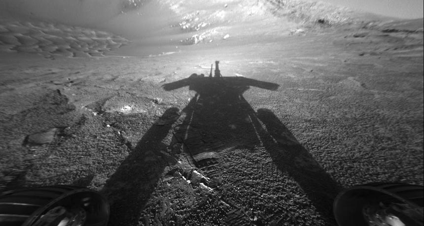 shadow of Opportunity rover on Mars