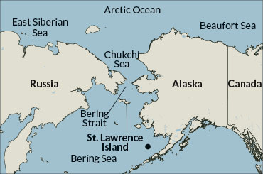 a map showing the Bering strait and the location of Peggy