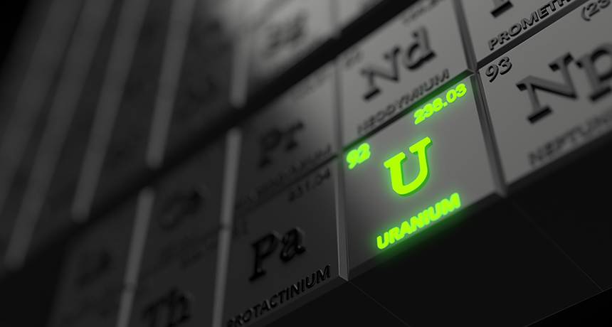 uranium on the periodic table