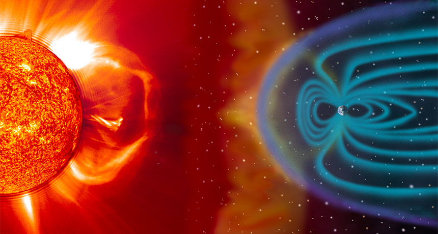 charged solar particles and Earth's magnetosphere
