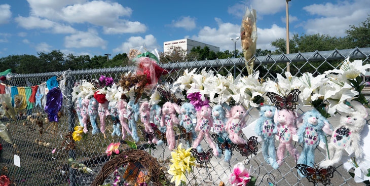 a fence covered in stuffed animals, flowers, and notes after a mass shooting in Parkland, Fla.