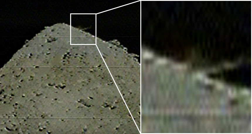 dust plume at impact site on Ryugu's surface