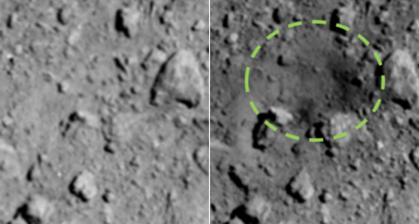 asteroid Ryugu before and after crater pics