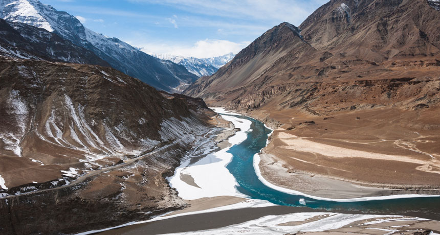Zanskar River in Himalayan mountains