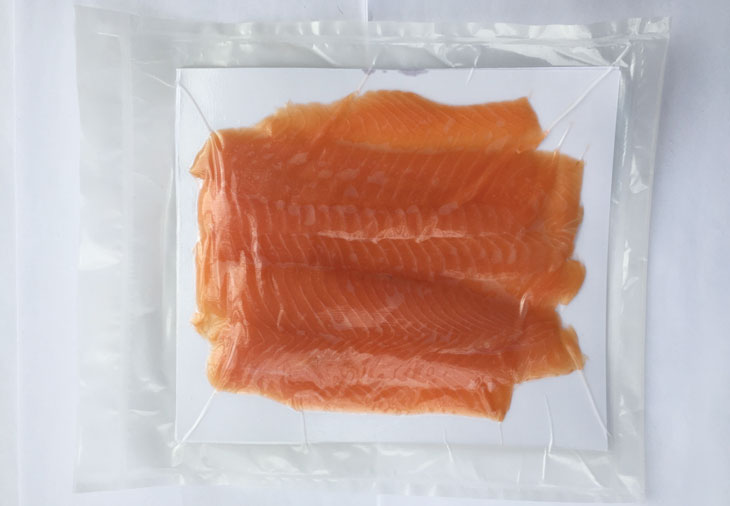 salmon sealed in compostable food wrapping
