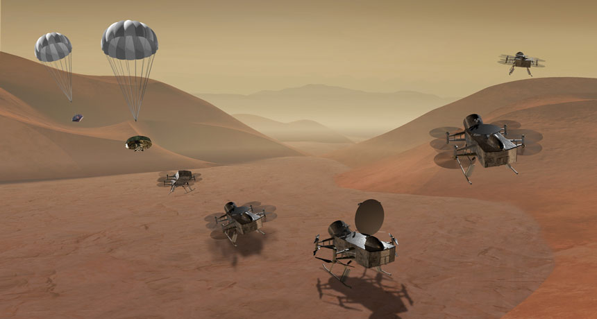 illustration of Dragonfly mission to Titan