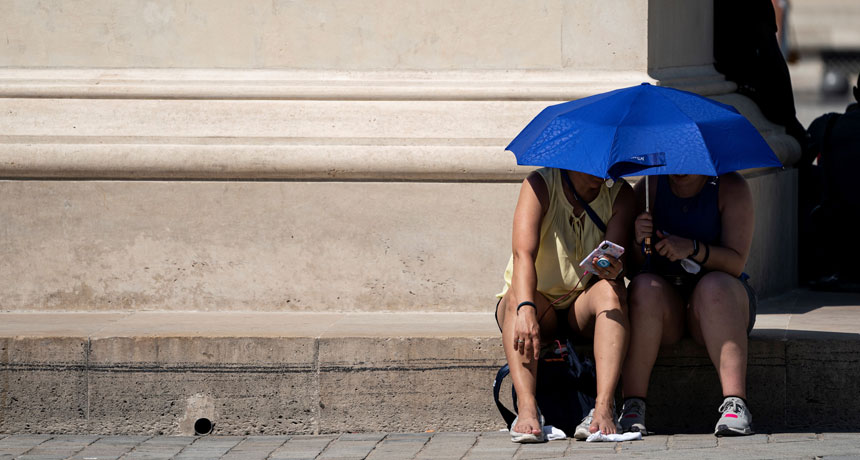 two people under shade umbrella
