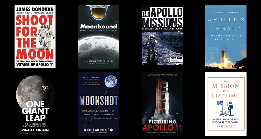 an image showing several Apollo 11 anniversary books