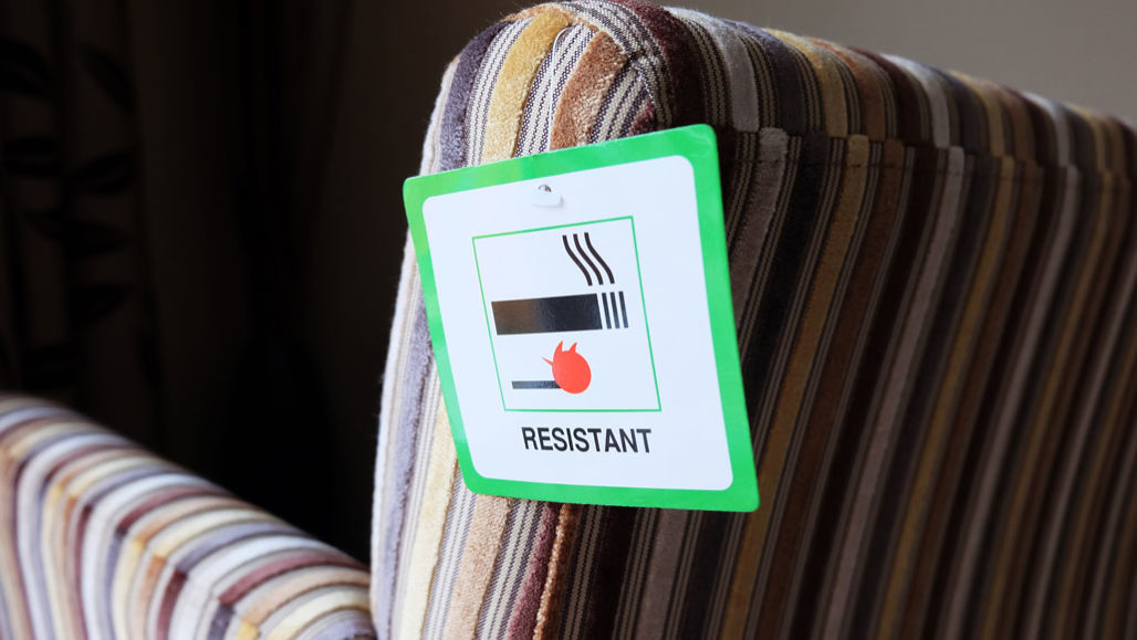 chair with flame resistant tag