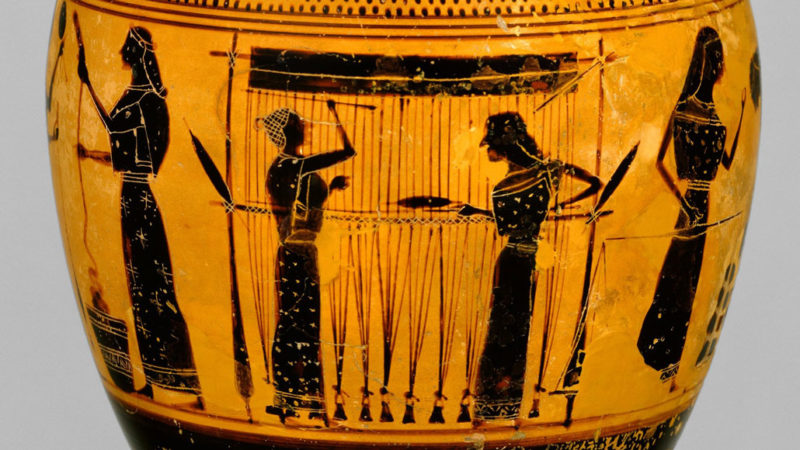 vase depicting women weaving