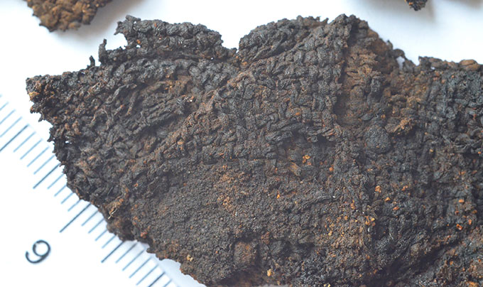 Burned textile scraps