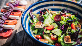 salad and vegetables