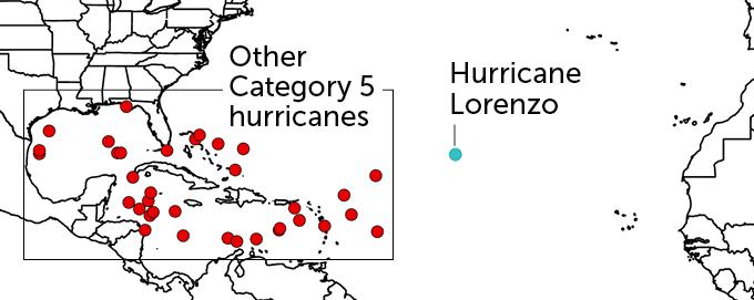 Category 5 Atlantic hurricanes map
