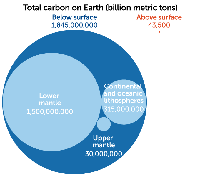 Total carbon on Earth graphic