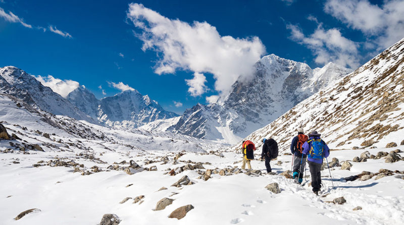 Hikers on Everest