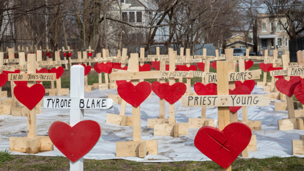 Crosses for Chicago gun violence victims