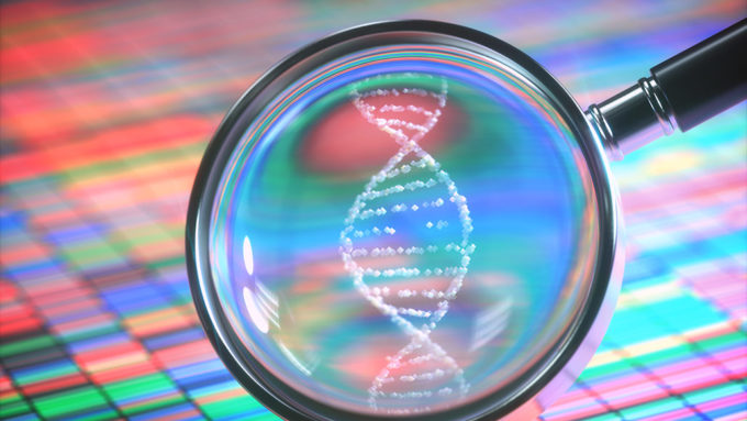 DNA in a magnifying glass illustration
