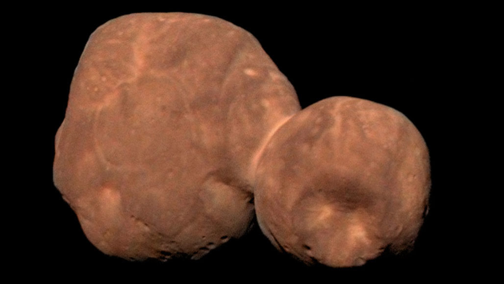 Arrokoth appears as a ruddy deformed snowman in this composite image acquired by NASA's New Horizons spacecraft as it sped past on January 1, 2019. NASA, Johns Hopkins University Applied Physics Laboratory, Southwest Research