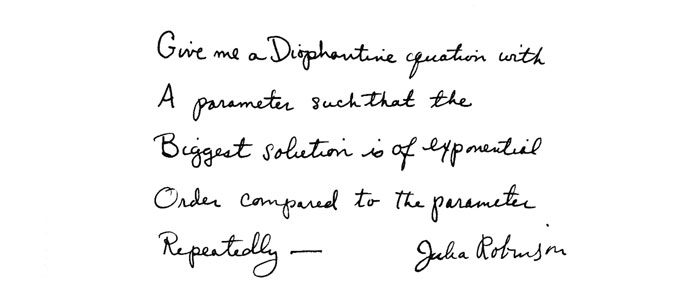 Julia Robinson handwriting quote
