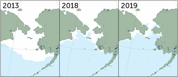 Shrinking ice extent in the Bering Sea