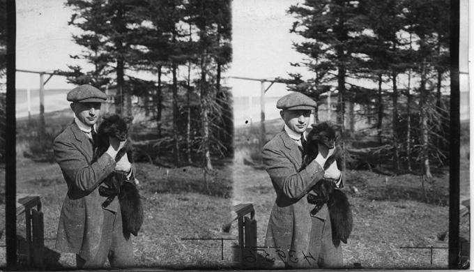 Leo Frank holding a fox
