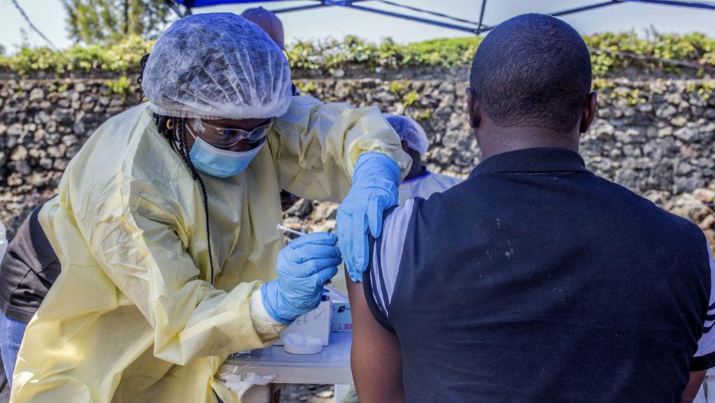 Nurse vaccinating someone in Goma