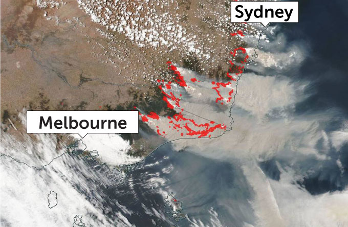 Australia brushfire map