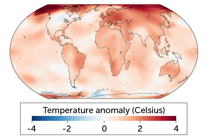 2019 global temperatures compared with 1951–1980 averages