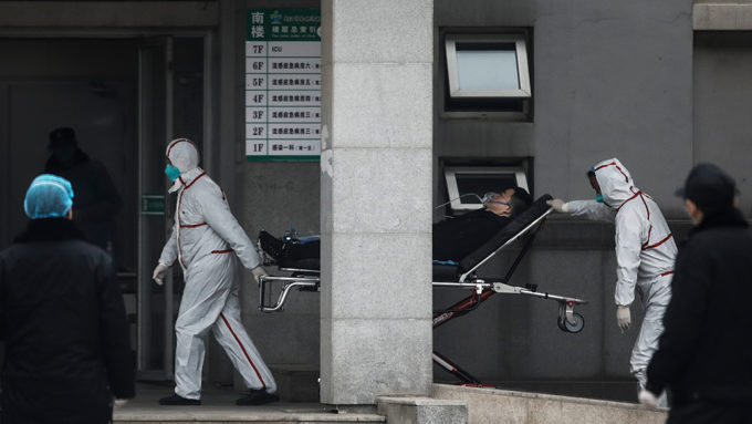 hospital workers in Wuhan, China