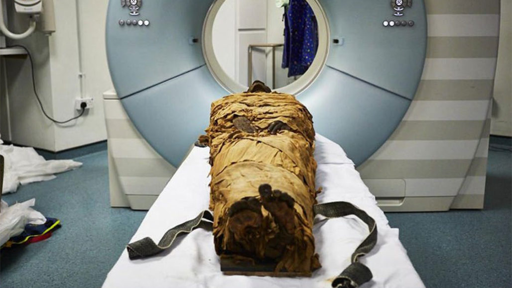 mummy in CT scanner