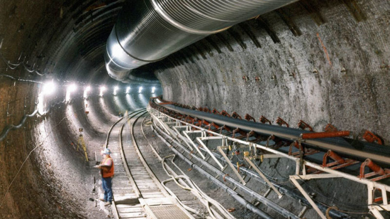 Nuclear waste storage beneath Yucca Mountain in Nevada
