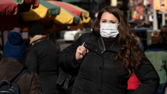 woman wearing face mask in New York