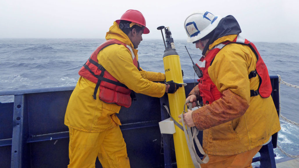 Deploying float to collect ocean data