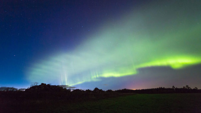 "green glow in the night sky - an aurora named the ""dunes"""
