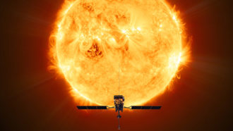 illustration of ESA Solar Orbiter probe in front of the sun