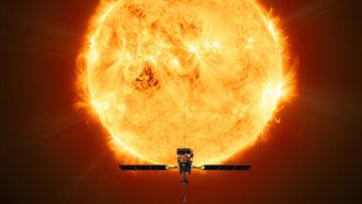 illustration of ESA Solar Orbiter probe in front of the sun