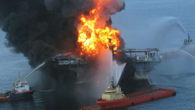 Deepwater Horizon rig on fire after explosion