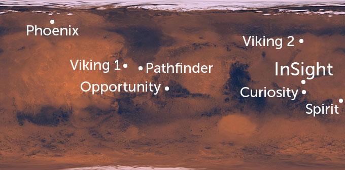 Mars landing sites map