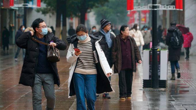 Pedestrians in Wuhan