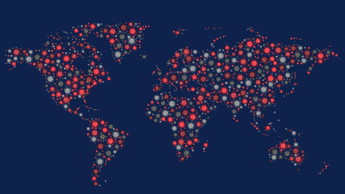 virus particle illustration of a global map