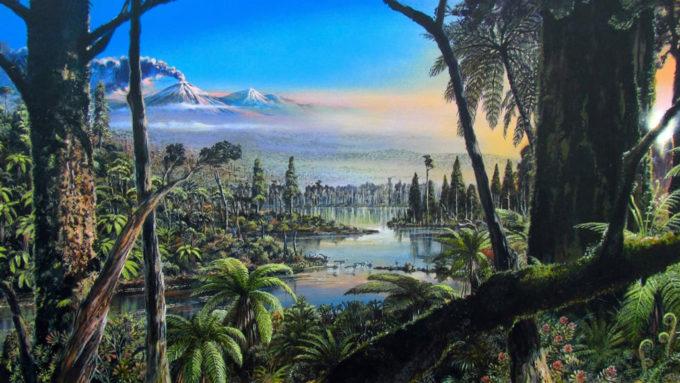 Illustration of ancient rainforest near South Pole