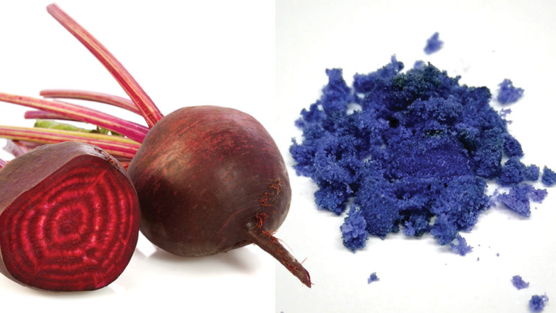beets and blue dye made from beets